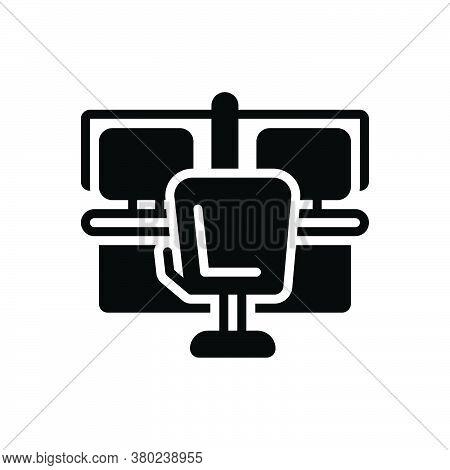 Black Solid Icon For Office Bureau Workspace Cubicle Counter Place-of-work Laptop Desk Desktop Study