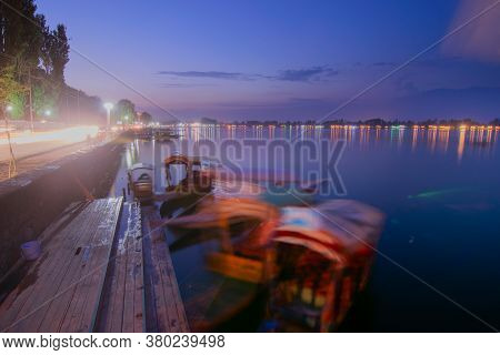 Shree Nagar,jammu And Kashmir,india-31st August 2014 : Beautiful Dal Lake In Blue Hour After Sunset,