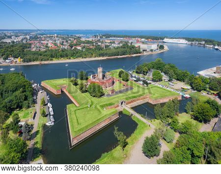 Aerial View Of Historic Wisloujscie Fortress - Large Fort At The Confluence Of The Vistula River Int