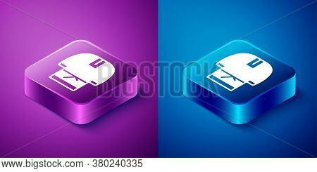 Isometric Kosovorotka Is A Traditional Russian Shirt Icon Isolated On Blue And Purple Background. Tr