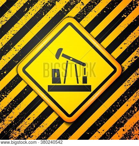 Black Oil Pump Or Pump Jack Icon Isolated On Yellow Background. Oil Rig. Warning Sign. Vector