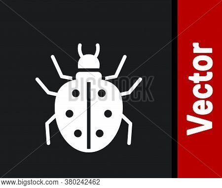 White Mite Icon Isolated On Black Background. Vector