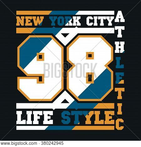 New York Typography, Design Graphic, T-shirt Printing Man Nyc, Original Design Clothing