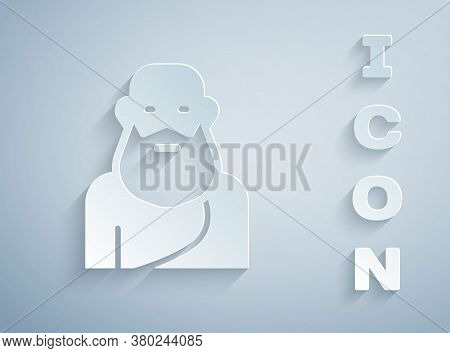 Paper Cut Socrates Icon Isolated On Grey Background. Sokrat Ancient Greek Athenes Ancient Philosophy
