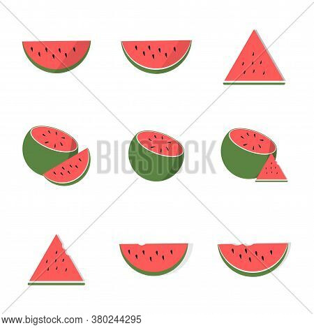 Watermelon Whole And Slice Set Vector Illustration Isolated