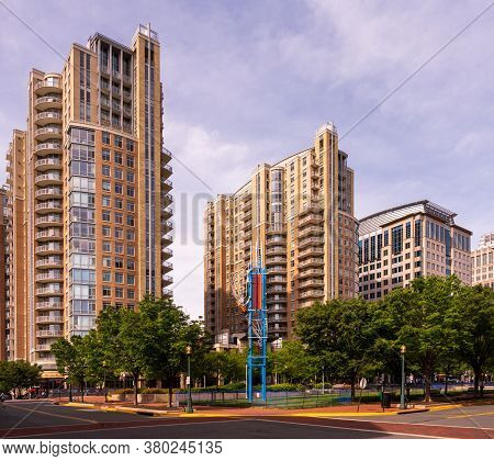 Reston, Va, Usa -- May 20, 2020. A Wide Angle Photo Of High Rise Condos In Affluent Reston, Va.