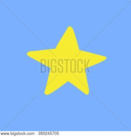 Vector Hand Drawn Doodle Sketch Yellow Star Silhouette Isolated On Blue Background