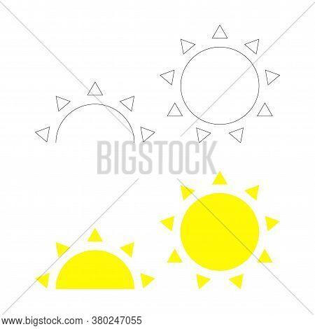 Outline Full And Halved Sun Icon. Sunset Sunrise. Sunshine Vector Symbol