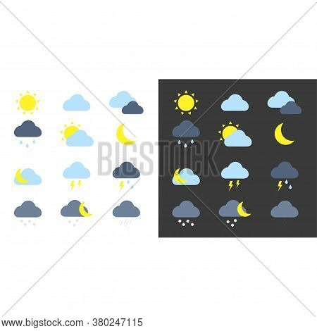 Weather Icons Set. Colored Vector Weather App Icons On Black And White Background