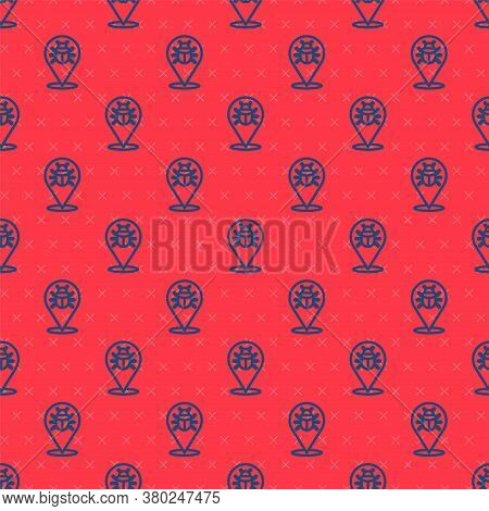 Blue Line System Bug Concept Icon Isolated Seamless Pattern On Red Background. Code Bug Concept. Bug