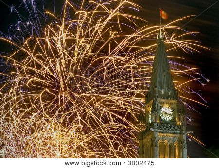 Parliament With Fireworks