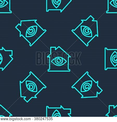 Green Line House With Eye Scan Icon Isolated Seamless Pattern On Blue Background. Scanning Eye. Secu