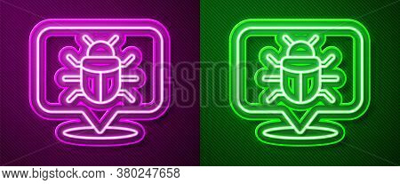 Glowing Neon Line System Bug Concept Icon Isolated On Purple And Green Background. Code Bug Concept.