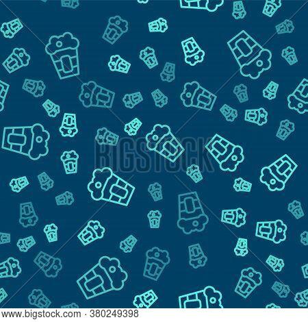 Green Line Popcorn In Cardboard Box Icon Isolated Seamless Pattern On Blue Background. Popcorn Bucke