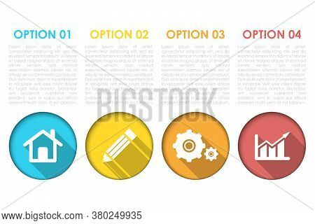 Business Infographics With 4 Steps, Options Or Elements. Template Can Be Used For Diagram Or Web Des