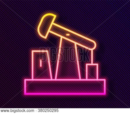 Glowing Neon Line Oil Pump Or Pump Jack Icon Isolated On Black Background. Oil Rig. Vector