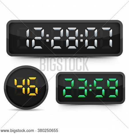Digital Clock And Numbers Set. Electronic Alarm Icon. Letters And Numbers For A Electronic Devices.