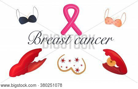Breast Cancer Set Isolated On White Background. Cancer Claw, Bras And Chest With Pink Ribbon. Cancer