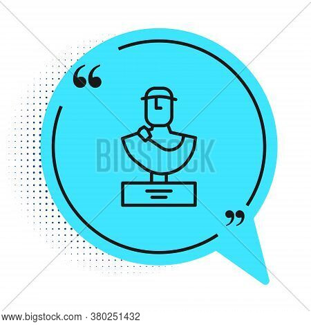Black Line Ancient Bust Sculpture Icon Isolated On White Background. Blue Speech Bubble Symbol. Vect