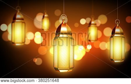 Arabic Lamps, Gold Lanterns With Arab Ornament, Ring And Burning Candles. Accessories For Islamic Ra