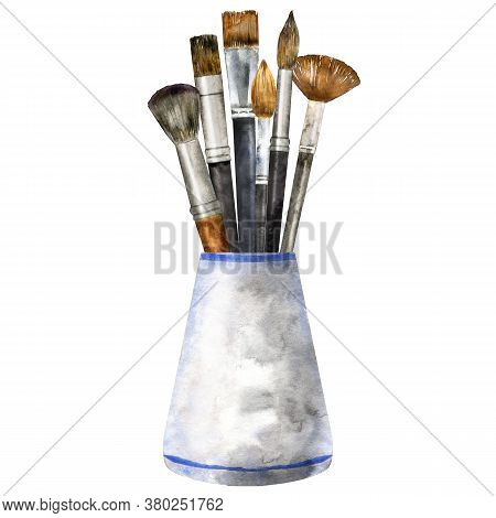Watercolor Vase With Brushes Isolated On White. Hand Drawn Painting Tools For Artist Or Make Up Appl