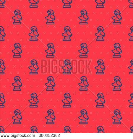 Blue Line Ancient Bust Sculpture Icon Isolated Seamless Pattern On Red Background. Vector
