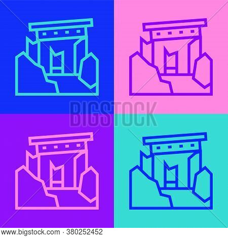 Pop Art Line Ancient Ruins Icon Isolated On Color Background. Vector
