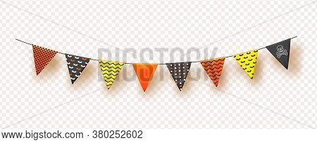 Halloween Flags Garlands With Orange, Yellow And Black Isolated On Transparent Background.vector Ill