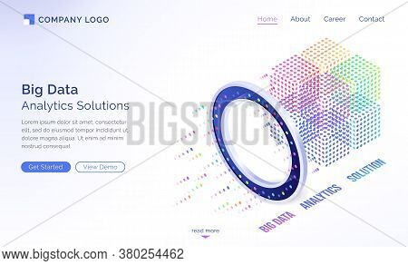Big Data Analytics Solutions Isometric Landing Page, Information Technology Concept, Info Blocks Flo