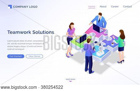 Teamwork Solutions Isometric Landing Page. Team Of Business People Working At Office Desk In Shape O