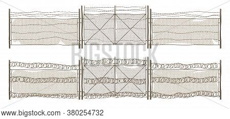 Metal Chain Link Fence With Gate And Barbwire. Old Rusty Rabitz Grid And Wire With Barbs Isolated On