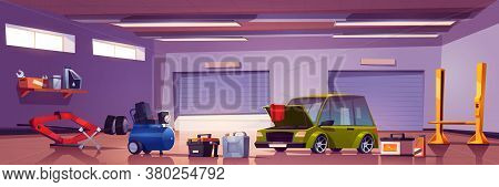 Car Repair Service Mechanic Garage With Automobile And Stuff For Auto Maintenance. Diagnostic Center