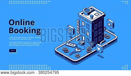 Online Booking Isometric Landing Page, Room Reservation Service, Hotel Building, Apartment Keys, Coi