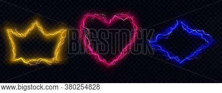 Lightning Frames, Electric Thunderbolt Borders Of Crown, Heart And Rhombus Shape, Magic Energy Strik