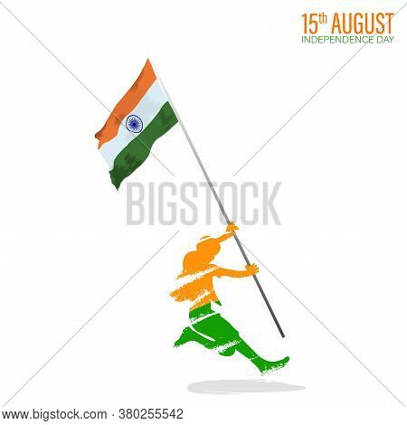 Vector Illustration For 15th August Independence Day Of India. Rejoicing Boy Jumping With Indian Fla