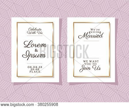 Two Wedding Invitations With Gold Frames On Pink Pattern Background Design, Save The Date And Engage