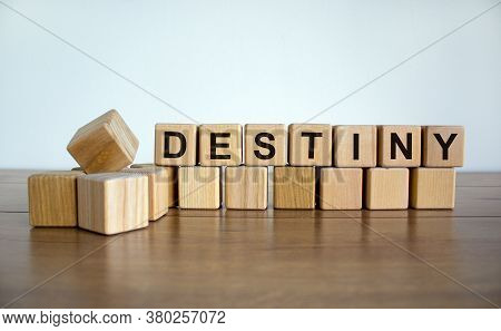 Concept Word 'destiny' On Wooden Cubes On A Beautiful White Background. Wooden Table. Copy Space. Bu