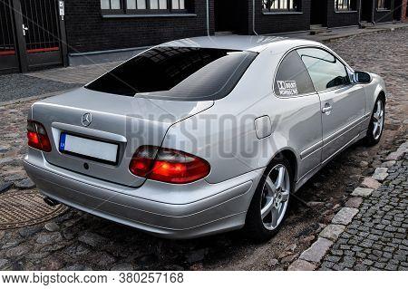 Riga, Latvia - April 22, 2018: Silver Mercedes-benz Coupe Clk200 Kompressor - W208, 2001.