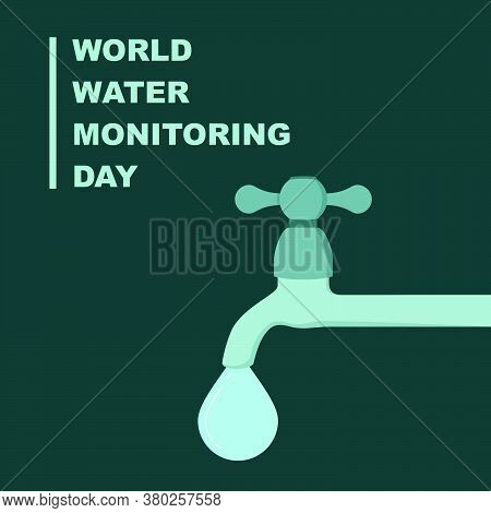 Dripping Water From Faucet Vector Illustration. Good Template For Water Day Design.