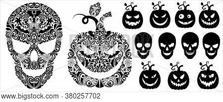 Pattern In A Shape Of A Pumpkin And A Scull. Set Of Sillhouettes Of A A Pumpkin And A Scull.