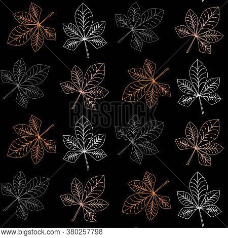 Autumn Pattern With Colorful Strokes Of Chestnut Leaves. Design Of Wrappers, Textiles, Boxes. Glow E