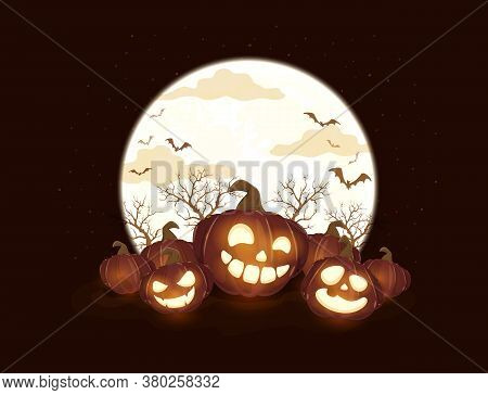 Halloween Pumpkins And Moon On Black Night Background. Holiday Card With Jack O' Lanterns And Bats.