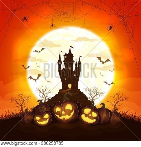 Smiling Pumpkins With Dark Castle On Orange Background With Moon. Holiday Card With Jack O Lanterns,