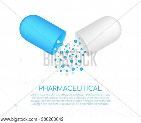 Capsule Pill. Small Balls Pouring From An Open Medical Capsule. Vector Illustration.