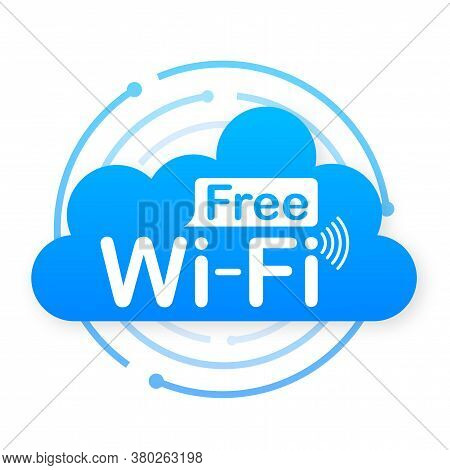 Free Wifi Zone Blue Icon. Free Wifi Here Sign Concept. Vector Stock Illustration.