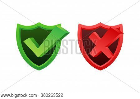 Yes No Word Text On Talk Shape. Vector Stock Illustration Yes No In Shield On White Background. Vect