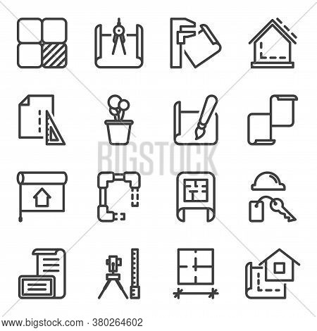 Interior Design Icons Set. Contains The Design, Construction And Processing Stages Of Design Creatio