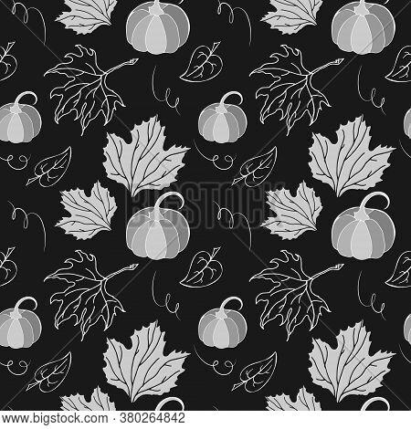 Autumn Pumpkin, Leaves Hand Drawn Images. White Silhouttes On Dark Background. Seamless Pattern