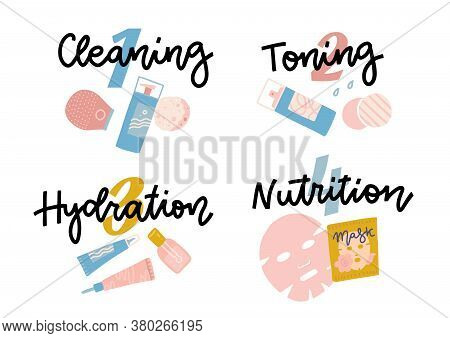 Icon Set For Skincare Infographic. Four Steps Face Care. Hand Drawn Lettering Words - Cleaning, Toni