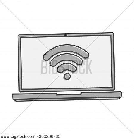 Wi-fi Vector Icon. Wi-fi On Computer Illustration Cartoon Style On White Isolated Background.